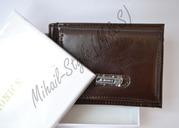 Коричневый кожаный зажим для купюр Monice